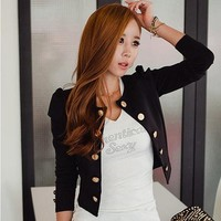 Women's Button Slim Casual Business  Suit Jacket Short Coat Outwear