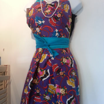 Vintage Inspired Purple Mexican Doll Dia De Los Muertos, Day of the Dead  Style Apron