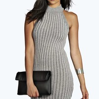 Lisa Turtle Neck Sleeveless Rib Knit Dress