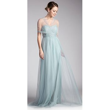 Tulle Infinity Style Long Bridesmaids Dress Robin Blue