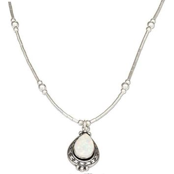 """Sterling Silver 16"""" Liquid Silver And Teardrop Synthetic White Opal Necklace"""