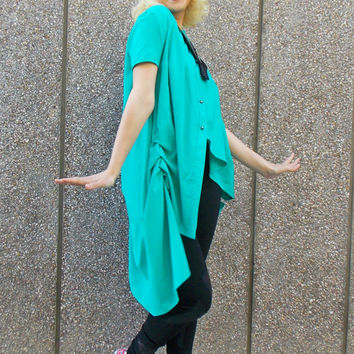 Turquoise Cotton Blouse / Turquoise Summer Shirt / Loose Cotton Blouse / Asymmetric Cotton Shirt TT50 NEW