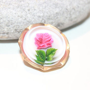 Vintage Reverse Carved Rose Brooch, Lucite, Flowers, Antique Alchemy