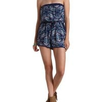 Combo Strapless Printed Blouson Romper by Charlotte Russe