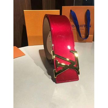 LV Louis Vuitton 2018 new men and women simple patent leather smooth buckle belt Red
