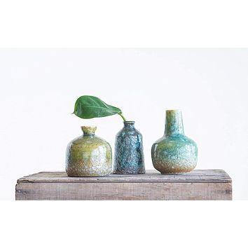 Stoneware Vase with Green and Blue Textured Surface and Reactive Glaze - Set of 3