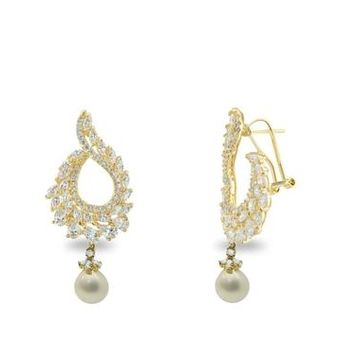 Handmade 14K Yellow Gold Victorian Brilliance Omega Drop Cubic Zirconia Earrings