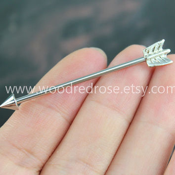 Arrow Industrial Barbell Piercing Upper Double Ear Piercing ,Arrow Earring ,Silver Industrial Barbell Piercing