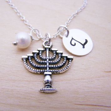 Menorah Charm Swarovski Birthstone Initial Personalized Sterling Silver Necklace / Gift for Her - Hanukkah  Necklace - Menora Necklace