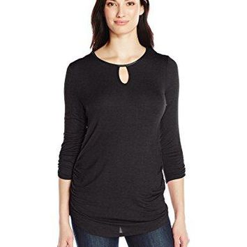 Allison Brittney Womens 34 Sleeve Scoop Neck with Leather Trim Shirttail Bottom Top with Front Ruching