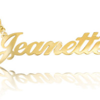 Solid 14k Gold Name Necklace ORDER ANY NAME! personalized jewelry chain gift Heart dot i, or plain design Choose chain style, and quality