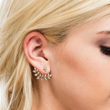 Leafy Embellished Backdrop Earring