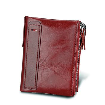 Hot!! 2017 New Vintage Genuine Leather Women Wallets Female Bifold Women's Wallet Double Zipper Design With Coin Purse Pockets