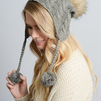 Cable Knit Earflap Beanie - Gray