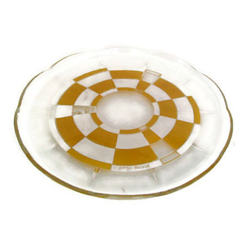 Mid Century, Georges Briard, Round, Serving Tray, Platter, Yellow Geometric, Signed, Home Decor, Retro Barware,