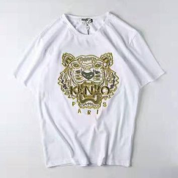 KENZO 2019 new embroidered golden tiger head men and women casual loose round neck T-shirt white