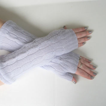Wool Fingerless Gloves - Baby Blue Cabled Texting Gloves Arm Warmers : Upcycled Recycled Repurposed Eco Friendly