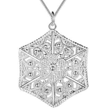ON SALE - Six Sided Filigree Puffed Cage Sterling Silver Necklace