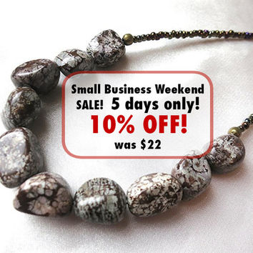 Chocolate brown & white snowflake obsidian necklace. Created in a volcano eruption! Boho, rustic, jewelry. Long, layering length