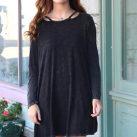 Stone Washed Cut Out Neckline Dress {Black}