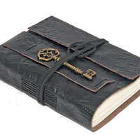 Embossed Black Leather Journal with Key Bookmark