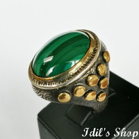 Authentic Turkish Ottoman Style Handmade 925 Sterling Silver Ring For Men With Malachite Stone.