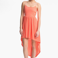 Mimi Chica Sheer Stripe High/Low Dress (Juniors) | Nordstrom