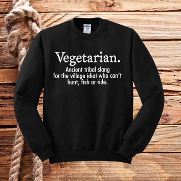 Vegetarian Cant Hunt Fish Funny sweater unisex adults