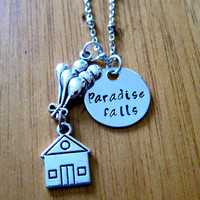 "Disney's ""UP"" Inspired Necklace. Paradise Falls, house with balloons. Hand Stamped Charm Pendant, Silver colored, for women or girls"