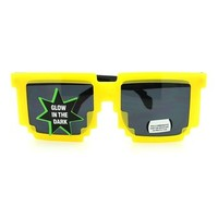 Yellow Glow in the Dark 8 Bit CPU Gamer Pixel Sunglasses