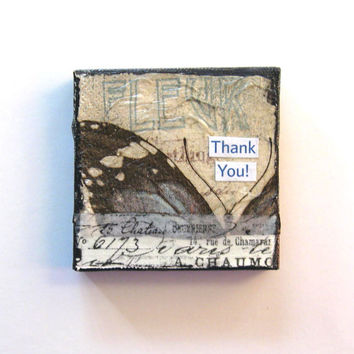 Thank you Fridge Magnet, Miniature Mixed Media Painting, Mini Canvas, Original Miniature painting, Home Decor, Nature art