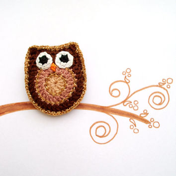 Owl brooch, Crochet brooch, Crochet pin, Golden Chocolate Brown