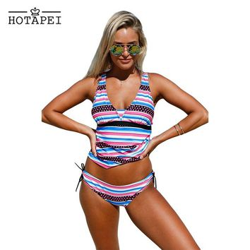 Hotapei 2018 Sexy Swimwear Bandeau Sport Tankinis and Bikini Bottoms LC410235 women 2pcs Swim suit Bathing Suits maillot de bain