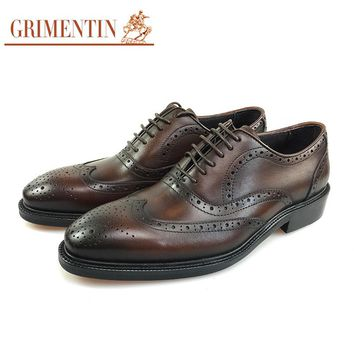 GRIMENTIN Brand men oxford shoes genuine leather wingtip carved mens dress shoes for business office