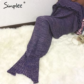 Knitting Ruffle Mermaid Blanket On The Bed Autumn Winter Warm Fishtail Sofa Blanket Multi Color Soft Portable Sleeping