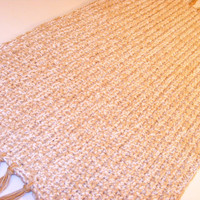 Rectangular Rag Rug, Heirloom Quality, Thick Eco Friendly Cotton Area Rug, Large Crochet Kitchen Rug, Entry Rug Or Bath Mat in Tan/ Bone