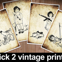 2 prints at your choice vintage funny gothic cute art digital gift doll teddy bear deer