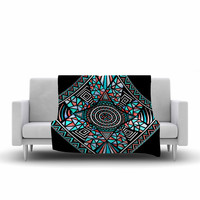 "Pom Graphic Design ""Geo Glass"" Teal Black Fleece Throw Blanket"