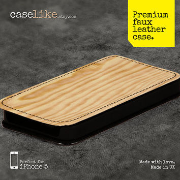 Premium Faux Leather iPhone 5 Case - Wood Texture iPhone Case 4 - for iPhone 5 / iPhone 4s / iPhone 4