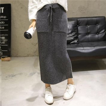 2017 Autumn Winter New Tall Waist Show Thin Knitting With A Word Wool Leisure  Warm Skirts In Female