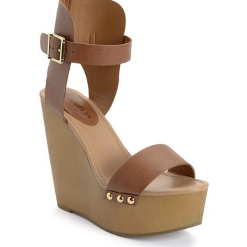 Cognac Wedge Sandal - Shoes | Sexy Clothes Womens Sexy Dresses Sexy Clubwear Sexy Swimwear | Flirt Catalog