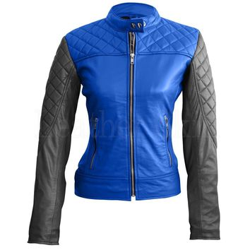 Women Blue Black Quilted Leather Jacket