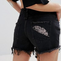 Missguided Anacrchy Mid Rise Embroidery Feather Short at asos.com
