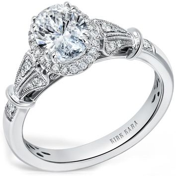 "Kirk Kara ""Lori"" Oval Cut Halo Diamond Engagement Ring"