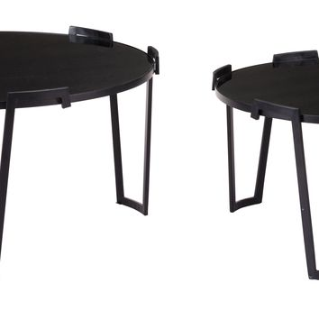 A10740 Set Of 2 Nesting Coffee Tables Black