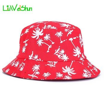 [LWS] Summer Palms bucket hats for women panama boonie Man hunting Fishing outdoor cap sun hat Letter Floral Bob Bucket Cap