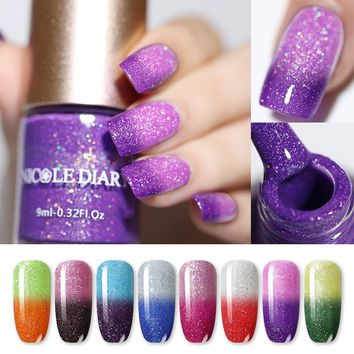 NICOLE DIARY Glitter Temperature Nail Polish Color Changing Thermal Water-based Nail Art Lacquer Varnish 8 Colors