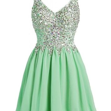 Ellames V Neck Sheer Straps Short Prom Dress Crystal Cocktail Party Dresses