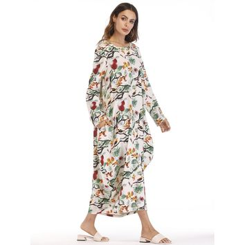 Plus Size Multicolor Tree Print Hidden Pocket Longline Dress