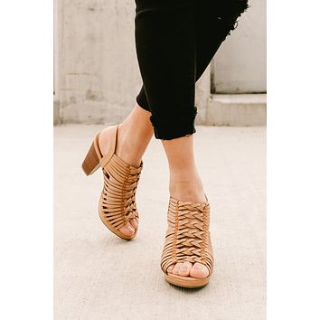After Sunset Braided Cage Heeled Sandals (Sand)